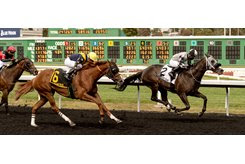 Dynasty of Her Own holds off Mind Out to win the California Oaks at Golden Gate Fields