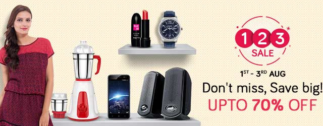 1-2-3 Sale Don't miss, Save big! Fashion | Home | Daily Essentials Upto 70% Off