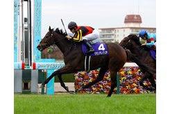 Gran Alegria wins the Mile Championship at Hanshin Racecourse