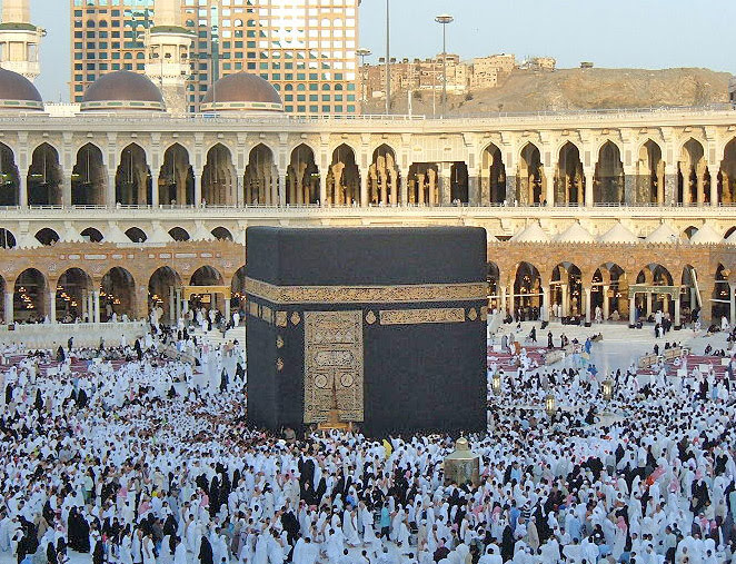 The Kaaba in Mecca, Saudi Arabia. (Zakaryaamr at Wikipedia)