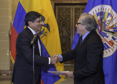 Nuevo Representante Permanente de Ecuador ante la OEA presentó hoy cartas credenciales