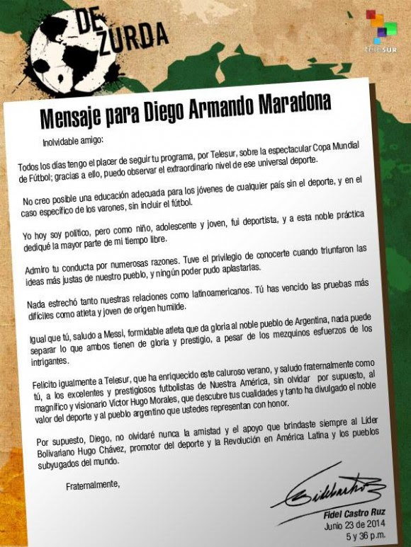 Carta de Fidel a Maradona