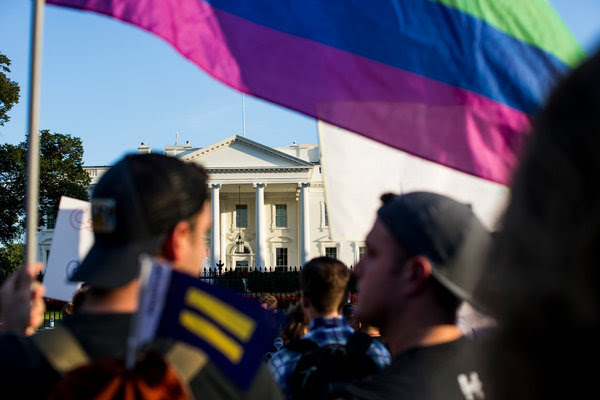 Demonstrators outside the White House after President Trump announced on Wednesday that he intended to bar transgender people from serving in the military.