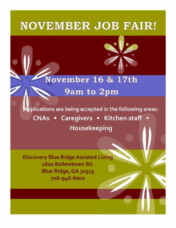 Job Fair at Blue Ridge Assisted Living
