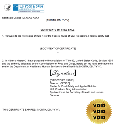 Sample Export Certificate for U.S. produced Food Products. The Certificate Unique ID is in the top left hand corner of the page.