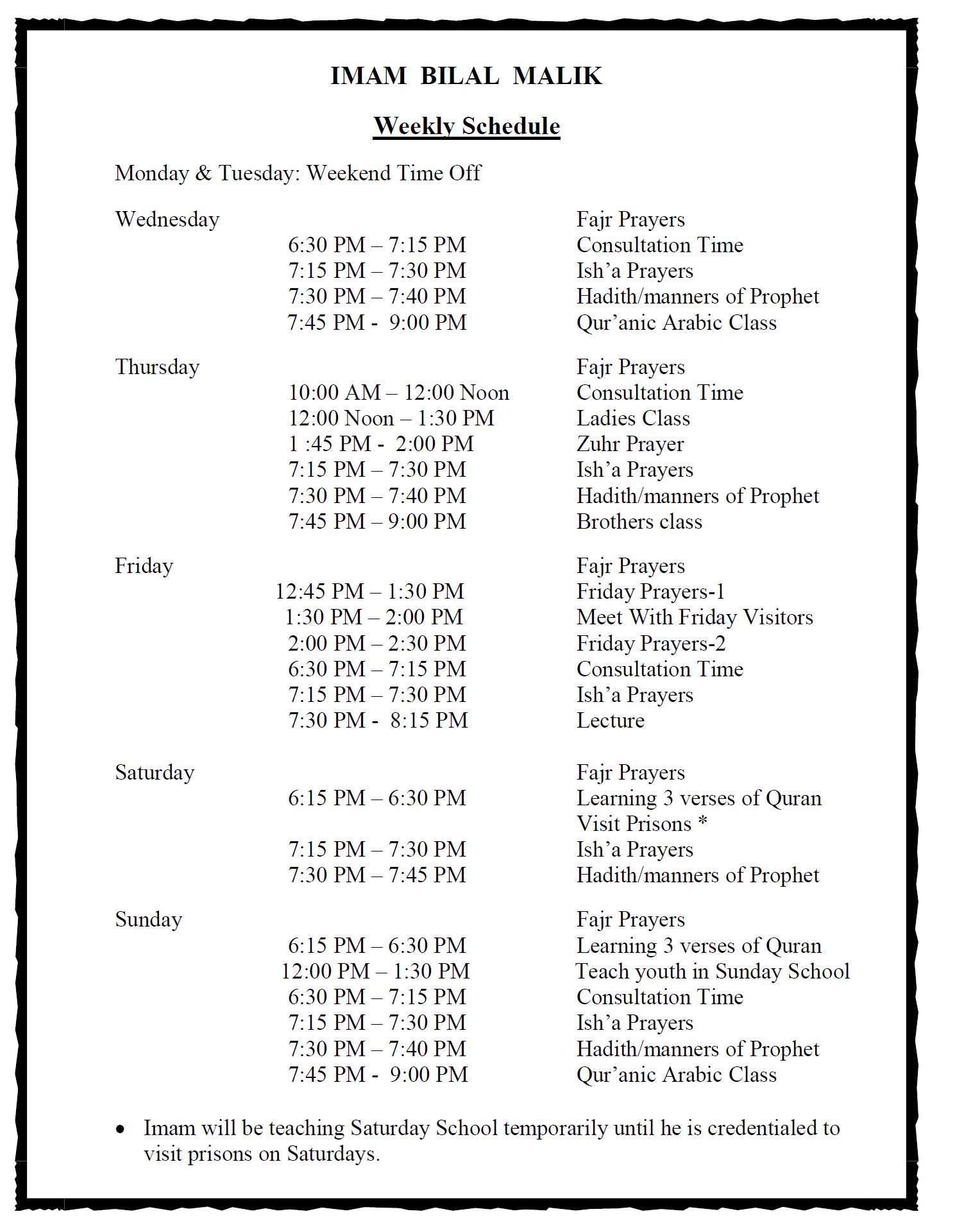 IMAM Hafez Muhammad Bilal Malik – Weekly Schedule – ICNEF