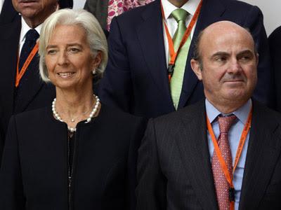 Christine Lagarde y Luis de Guindos en la conferencia económica celebrada en Bilbao el pasado 3 de marzo.