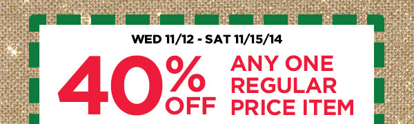 20% OFF ENTIRE REGULAR PRICE PURCHASE