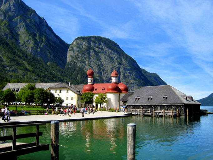 Consistently                                                           ranked as one                                                           of the most                                                           beautiful                                                           places in                                                           Germany, Lake                                                           K??nigssee is                                                           the home of                                                           St.                                                           Bartholom??, a                                                             Catholic                                                           pilgrimage                                                           church first                                                           founded in                                                           1134.