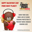 A cartoon teddy bear holding a Valentine's Day heart wears earmuffs to protect his hearing.