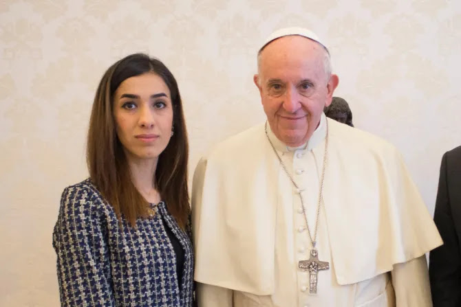 Nobel Peace Prize winner Nadia Murad meets with Pope Francis at the Vatican on Dec. 20, 2018.