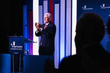 Vice President-elect Mike Pence spoke on Tuesday night at a gathering hosted by the right-leaning Heritage Foundation.
