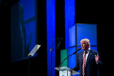 Donald J. Trump spoke at the Shale Insight conference in Pittsburgh on Thursday.