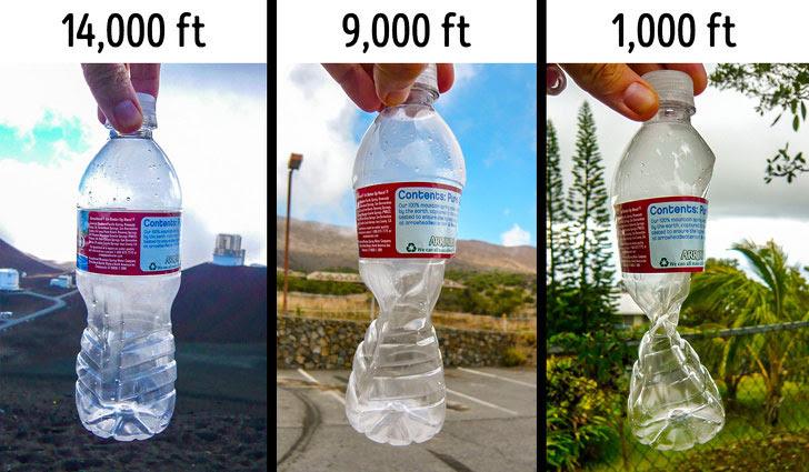 Hình dạng của chiếc chai nhựa cho thấy sức ép không khí thay đổi thế nào theo độ cao.