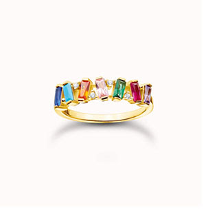 Ring colourful stones, gold
