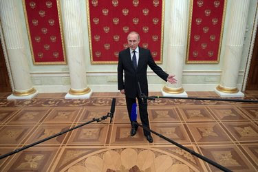 President Vladimir V. Putin last month at the Kremlin. The C.I.A. believes he deployed computer hackers with the goal of tipping the election to Donald J. Trump.