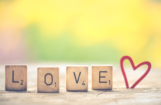 Love in scrable letters