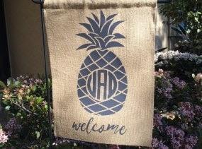 Personalized Pineapple Monogram Garden Flag