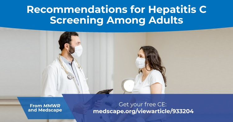 The figure is a photo of a health care provider speaking with a pregnant patient with text about a free CE activity on recommendations for hepatitis C screening among adults.