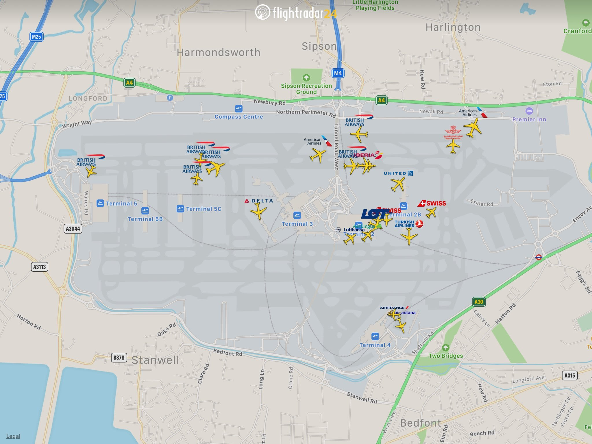 Flights wait to depart London Heathrow after a drone sighting halted departures