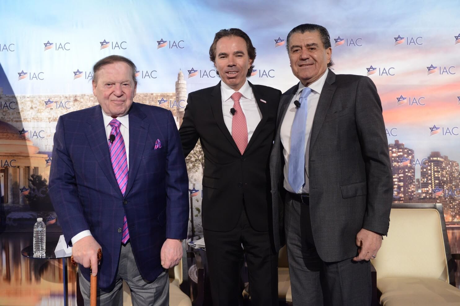 Sheldon Adelson, left, and Haim Saban flank Israeli-America Council Chairman Shawn Evenhaim at the IAC conference in D.C. (Photo: Shahar Azran)