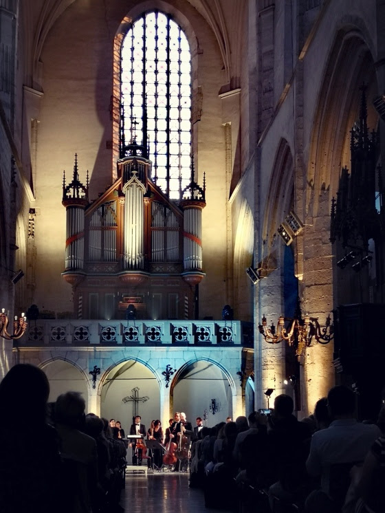 View of the organ and performance space in a cathedral