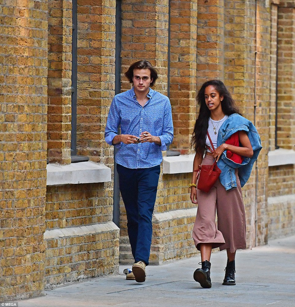 The 20-year-old appeared to be assimilating to British life and wore a pair of $160 Doc Martins boots, with brown pants, a grey T-shirt and an oversized denim jacket as she walked with her boyfriend