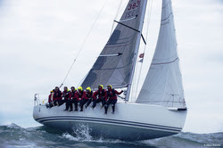 J/109 sailing in the Channel offshore of France and England