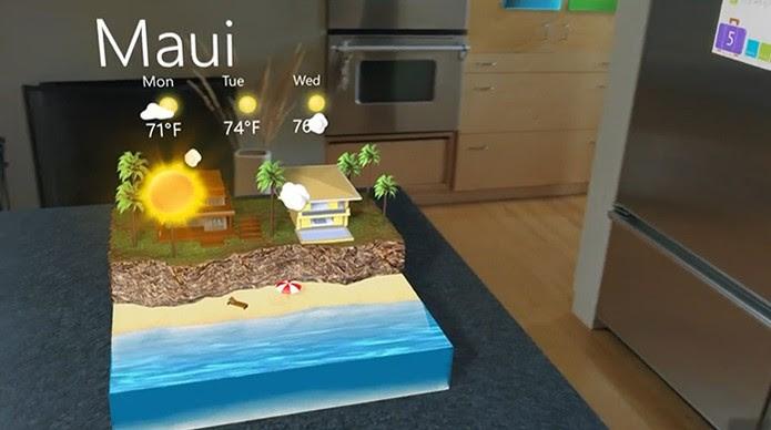 Windows Holográfico: veja as condições climáticas em qualquer lugar (Foto: Reprodução/Barbara Mannara)