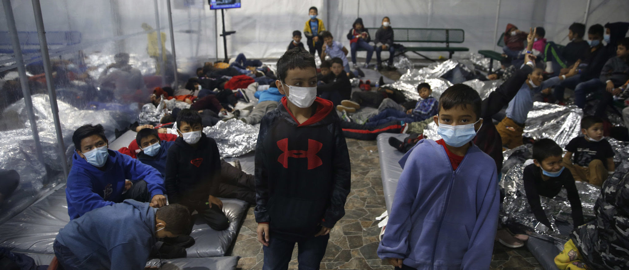 Migrant children at a facility