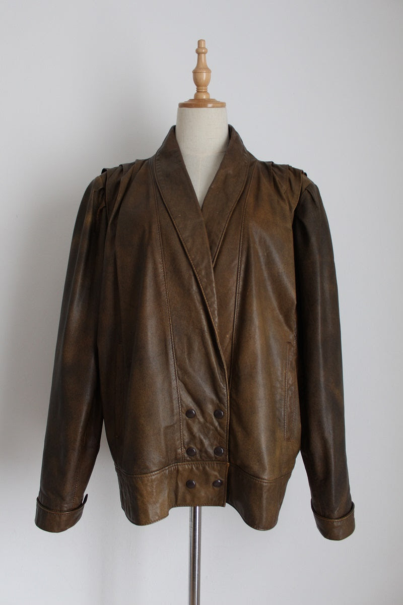 VINTAGE GENUINE LEATHER BROWN BOMBER JACKET - SIZE 12
