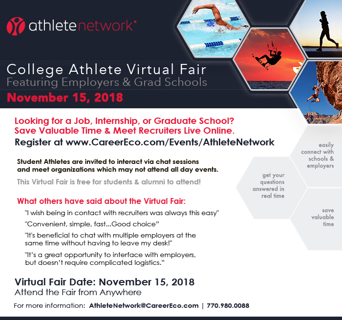 College Athlete Virtual Fair November 15th - Athletes Meet Employers & Grad Schools Nationwide