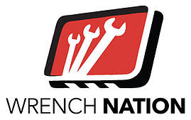 Wrench Nation logo. A red rectangle with a black and white border sits over the words Wrench Nation. In the rectangle are three wrenches, which get progressively larger from left to right.