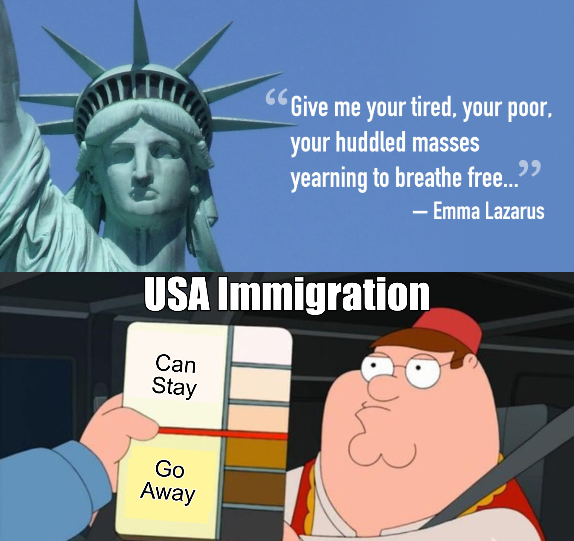 Image of Peter Griffin and the statue of liberty with a quote.