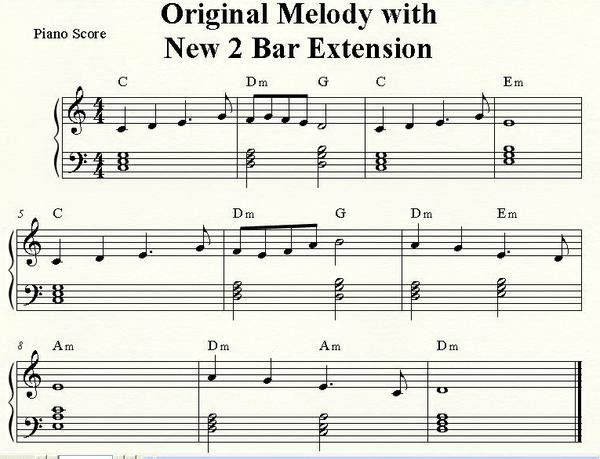 Original Melody with New 2 Bar Extension