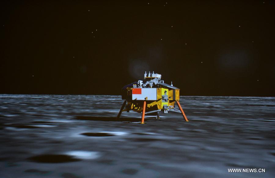 la sonda lunar Chang'e-3 es vista en la pantalla del Centro de Control Aeroespacial de Beijing en Beijing, capital de China