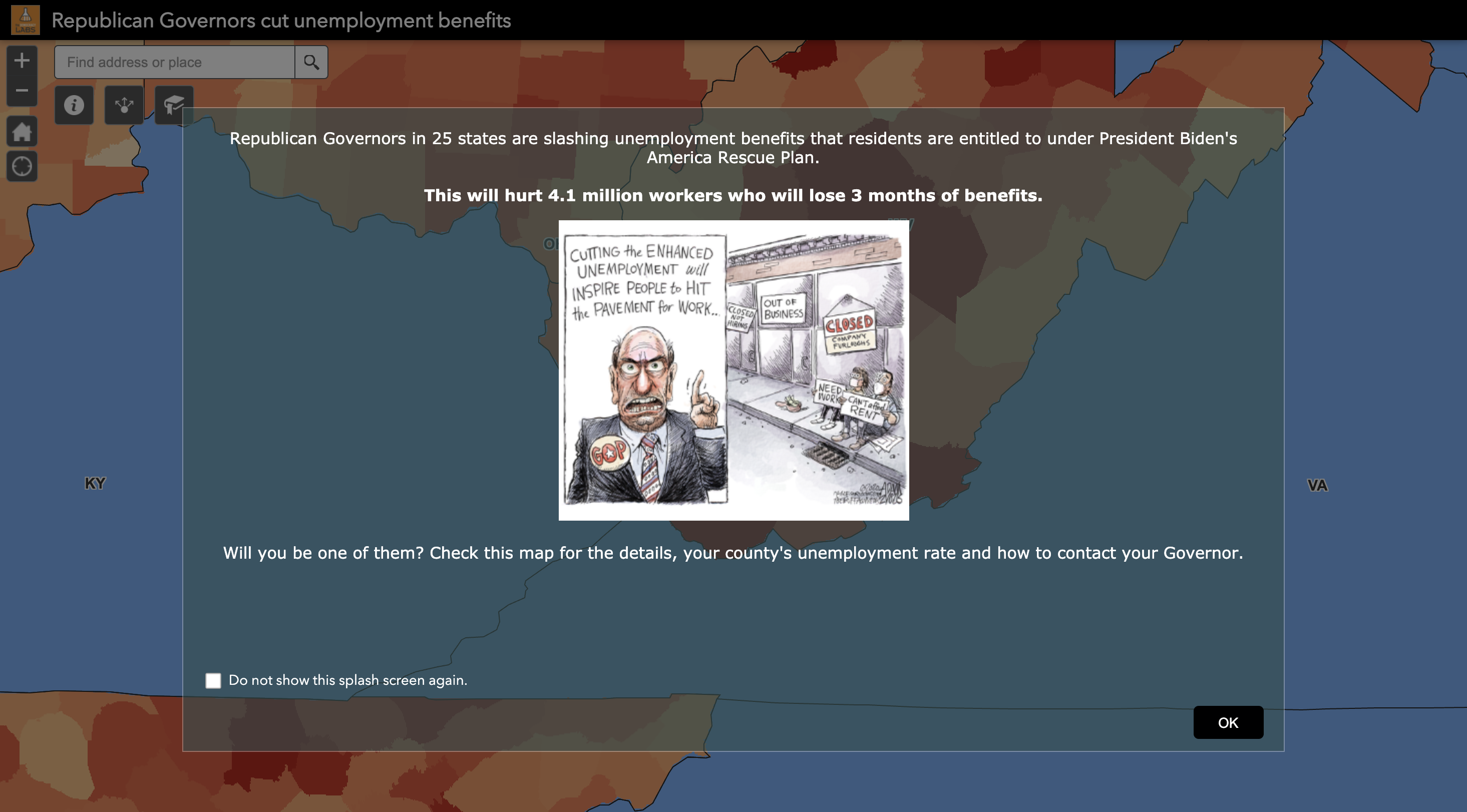 Splash Screen frames the issue before readers see the map