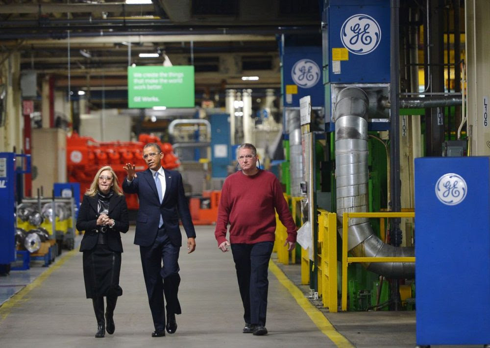 US President Barack Obama tours the General Electric Waukesha Gas Engines facility on January 30, 2014 in Waukesha, Wisconsin. The President is expected to discuss taking executive action to enhance reform of job training programs. GE's Waukesha gas engines plant, is a facility that employs around 700 people and manufactures natural gas engines. AFP PHOTO/Mandel NGAN        (Photo credit should read MANDEL NGAN/AFP/Getty Images) President Barack Obama toured the General Electric Waukesha Gas Engines facility in 2014 in Waukesha, Wisconsin. The company has just announced they will pull over 300 manufacturing jobs at the Waukesha facility. (Mandel Ngan/AFP/Getty Images)