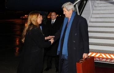 US Secretary of State John Kerry arriving in Israel, December 12, 2013.