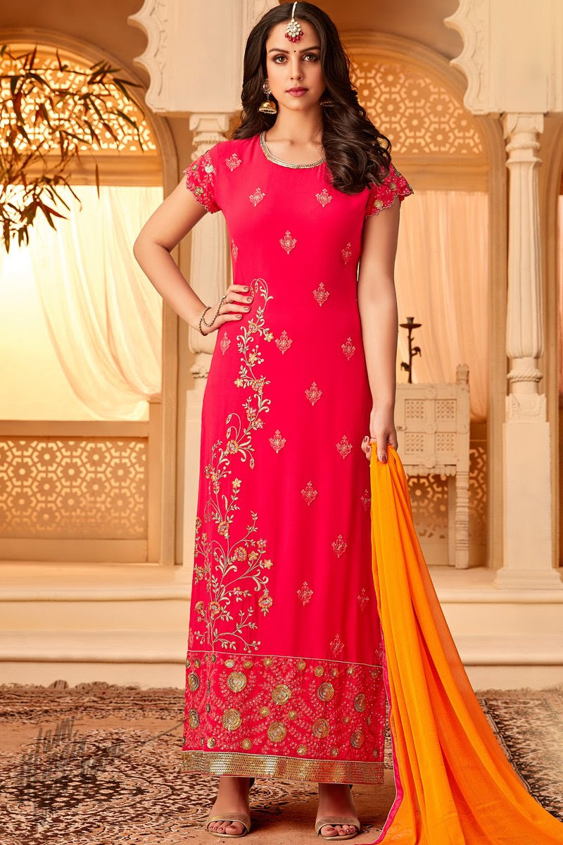 Rani and Orange Georgette Party Wear Straight Suit