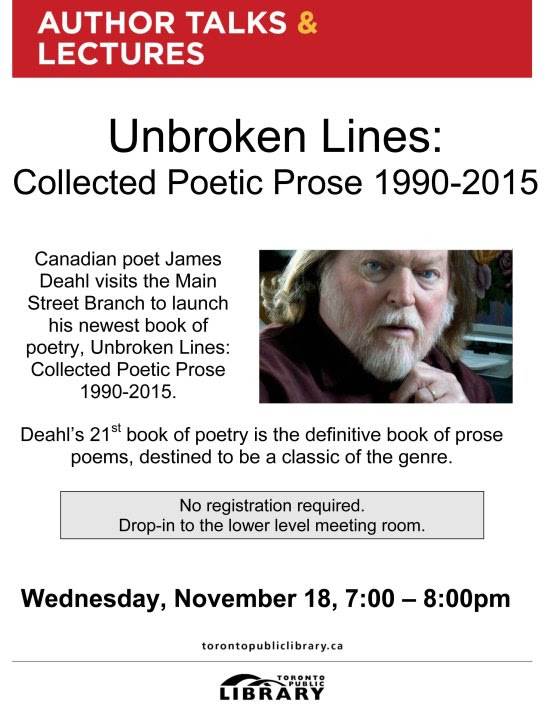 Sarnia poet James Deahl will be in Toronto Wednesday, November 18, 2015 to launch his latest book