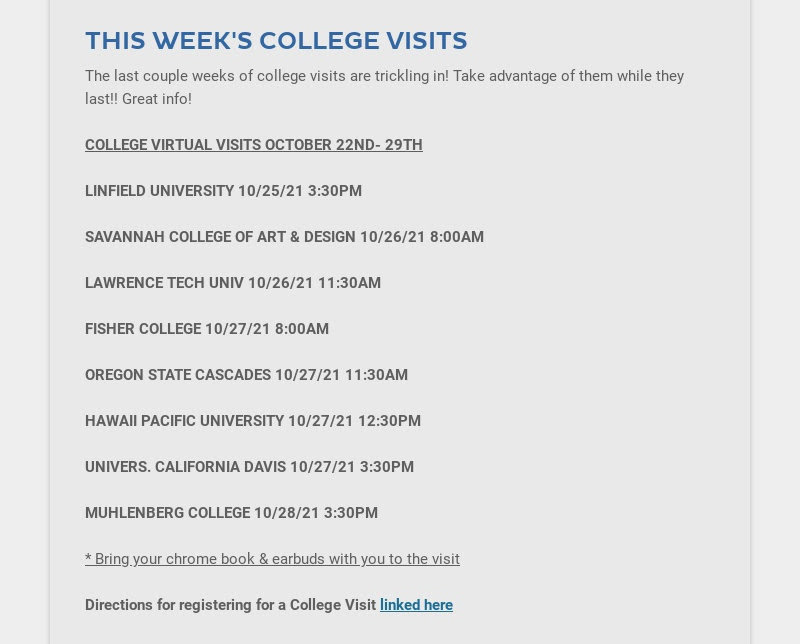 THIS WEEK'S COLLEGE VISITS The last couple weeks of college visits are trickling in! Take...