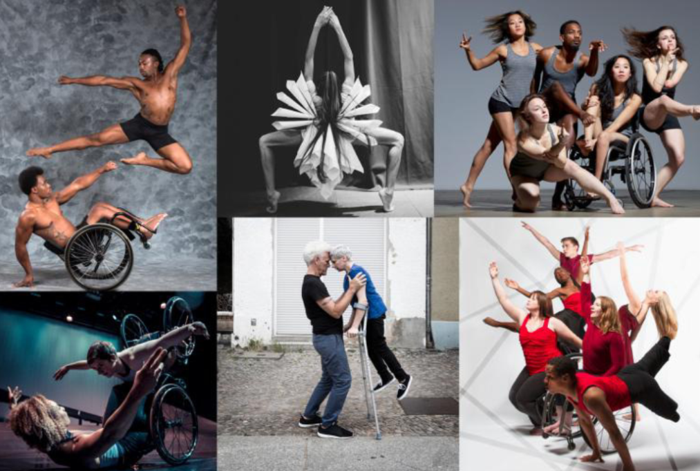 Image collage of six photos of performances featuring a mix of disabled and non-disabled dancers