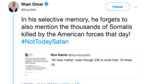 "Ilhan Omar falsely claims ""thousands"" of Somalis killed during 1993 Black Hawk Down mission, adds ""NotTodaySatan"""