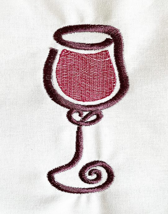 Free Wine Glass Embroidery Design