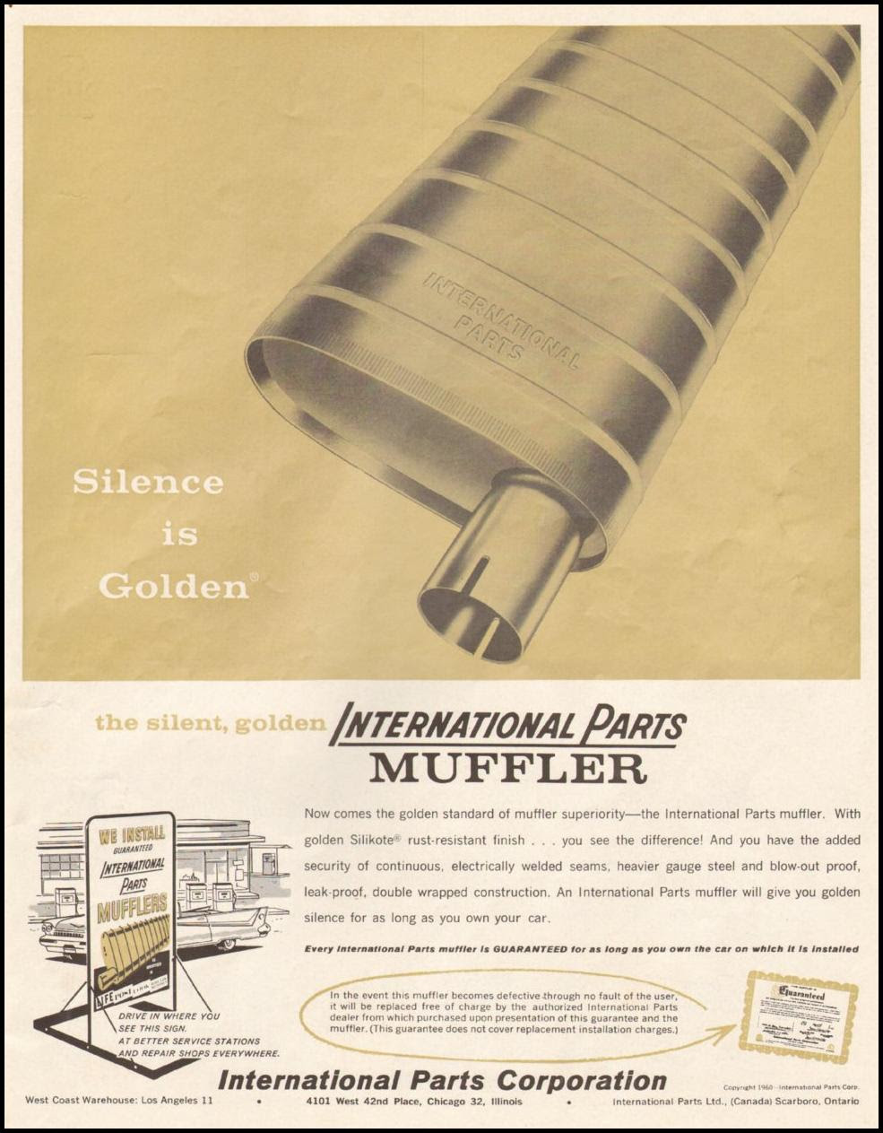 INTERNATIONAL PARTS MUFFLER SATURDAY EVENING POST 06/11/1960 p. 19
