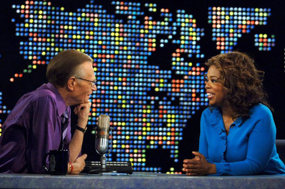 Larry King interviews Oprah Winfrey in April 2007. (Photo: Michael Caulfield/WireImage for Turner)