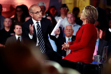 Matt Lauer with Hillary Clinton during Wednesday's forum at the Intrepid Sea, Air & Space Museum in Manhattan.