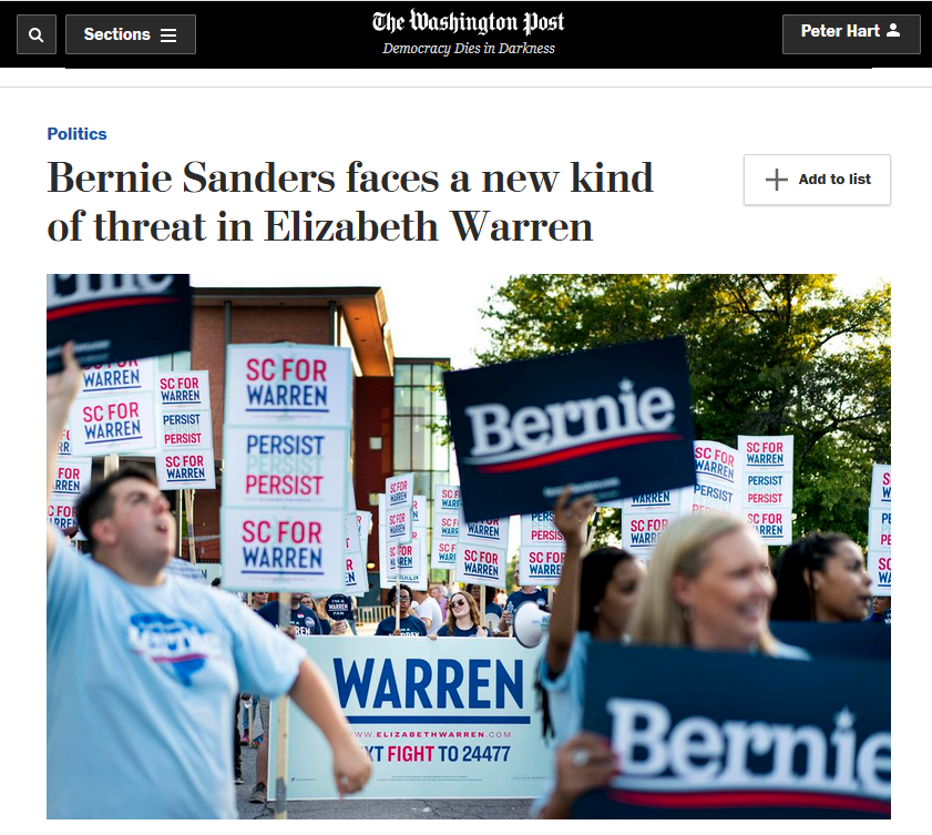 WaPo: Bernie Sanders faces a new kind of threat in Elizabeth Warren