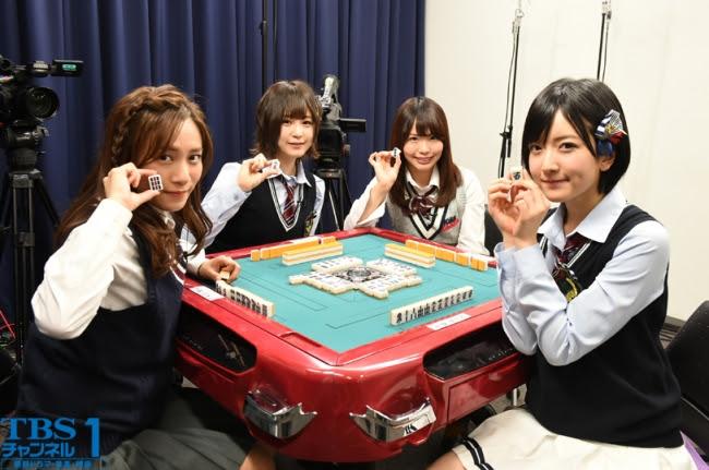 左から、 斉藤真木子(SKE48)、 三田麻央(NMB48)、 松村香織(SKE48)、 須藤凜々花(NMB48)